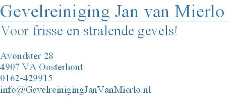 Het logo van Gevelreiniging Jan van Mierlo, een van onze sponsoren.