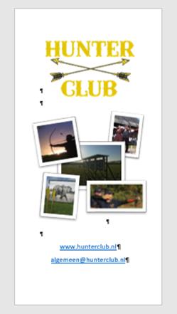 Digitale brochure van Hunterclub.