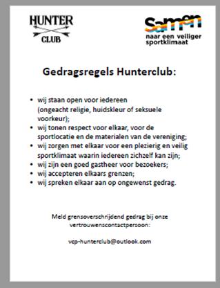 VCP poster Hunterclub. Deze poster is onderdeel van het beleid grensoverschrijdend gedrag binnen Hunterclub.